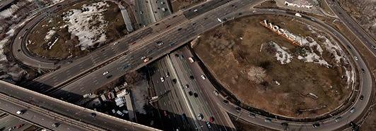Vue panoramique au dessus du MKAD de Moscou